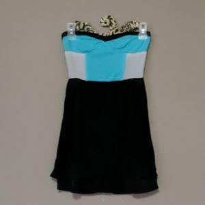 Sparkle and fade, strapless mini dress